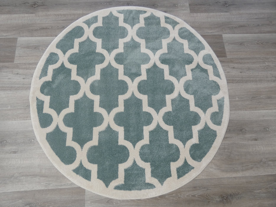 Morrocan Tile Design Turkish Round Rug Size: 133 x 133cm-Round Rug-Rugs Direct