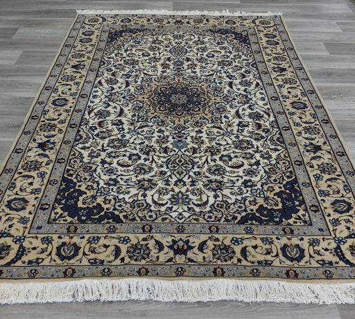 Beautiful Creams And Blues Persian Hand Knotted Nain Rug Size: 162 x 250cm