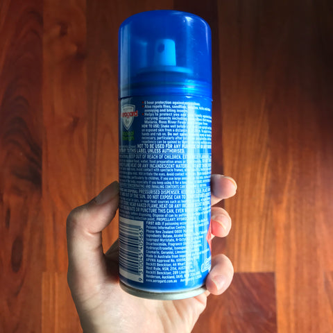 Aerogard spray can back details