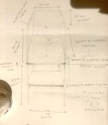 Sketch of Twoodie wooden baby change table