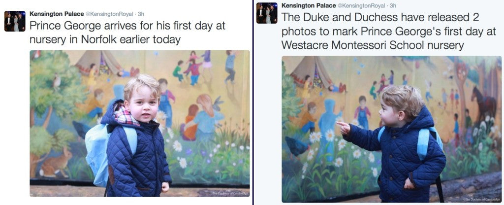 Prince George's first day at a Montessori School