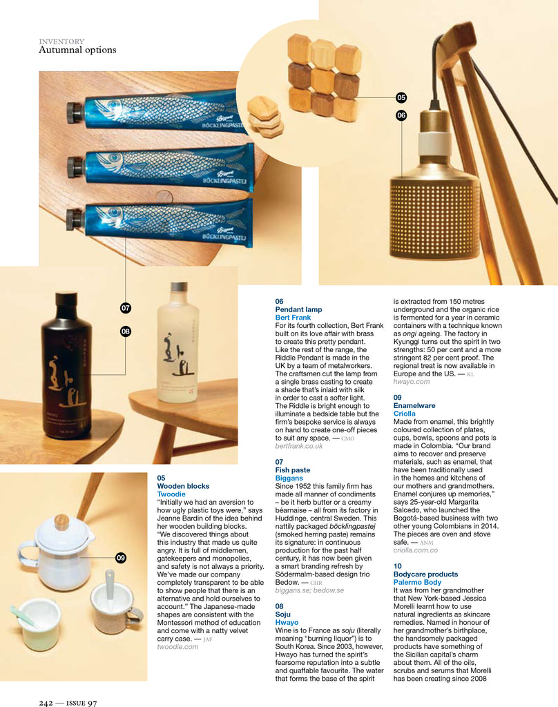 Twoodie wooden stacking toys in Monocle Magazine spread