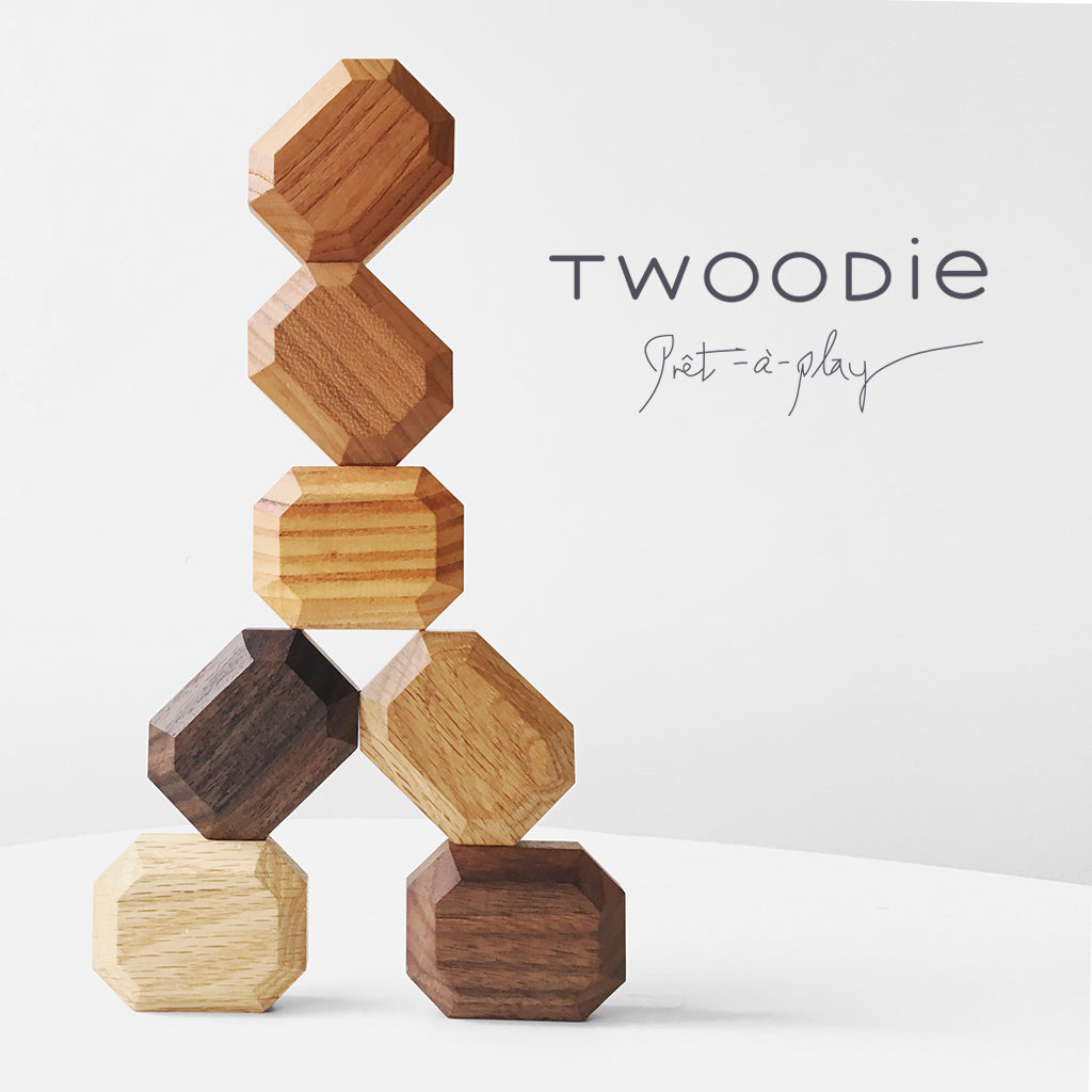 Organic stacking blocks in triangle formation with twoodie logo