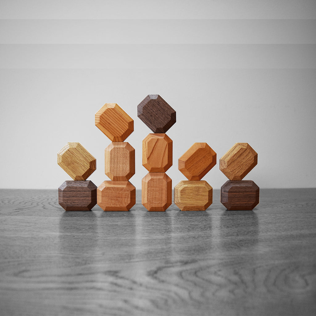 Wooden blocks for newborns arranged as the crown jewels