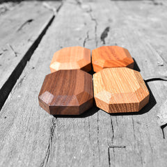 four types of organic wooden gem blocks on a monochrome background