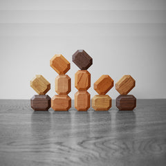 luxury wooden blocks arranged like royal jewels and crown