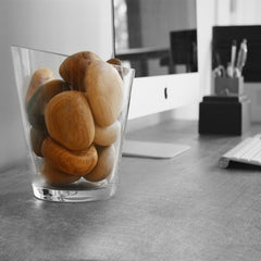 organic wooden pebbles by twoodie in vase on table with imac