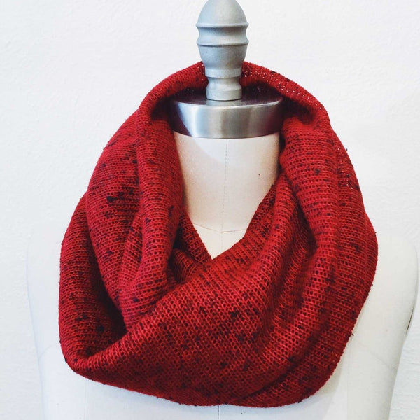 Cranberry Sweater-Knit Infinity Scarf