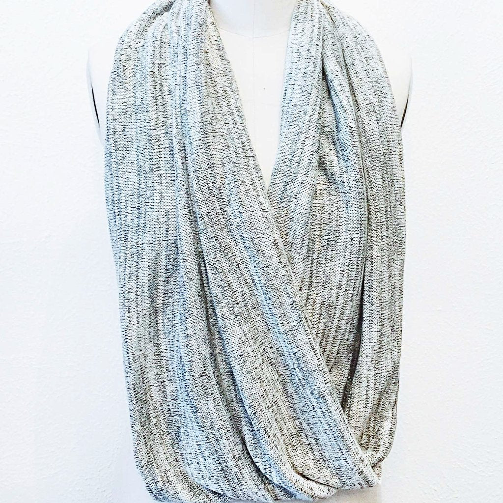 Grey & Metallic Sweater Knit Infinity Scarf