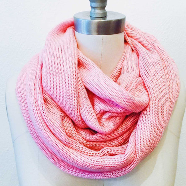 Pink Sweater Knit Infinity Scarf