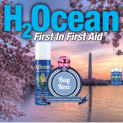 H2Ocean aftercare, the No. 1 body piercing aftercare spay in the Washington, DC  metro area. Great for nose, belly, nipple piercings and more