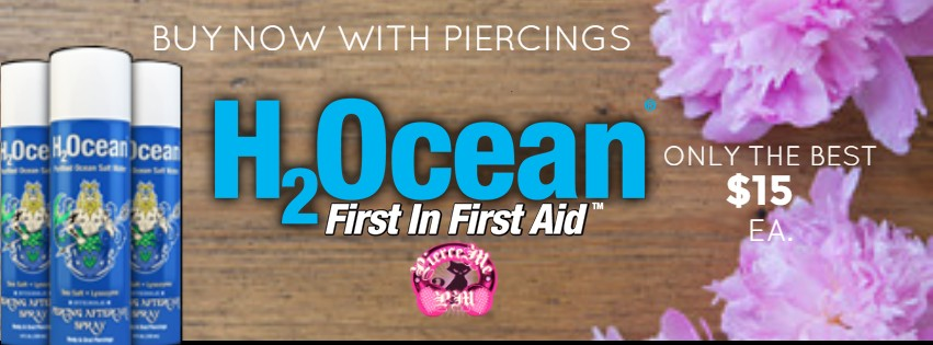 Buy your body piercing H2Ocean aftercare spray today, we will have it ready for you when you come get your new piercing(s).