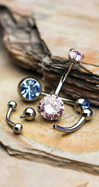 Get Your Belly or VCH pierced with CZ Gem Titanium Curve Barbell Jewelry