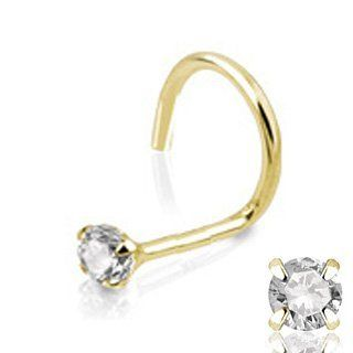 Get Your Nose Pierced with 14Kt Yellow Gold Screw Ring w/ Sparkling Crystal Stud