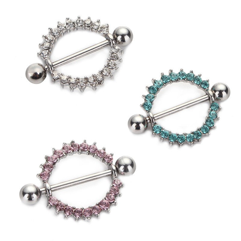 Silver-plated/Green/Pink CZ Gem Paved Circle Nipple Shield Piercing Rings Body Piercing 14G 1Pair Nipple Piercing Body Jewelry