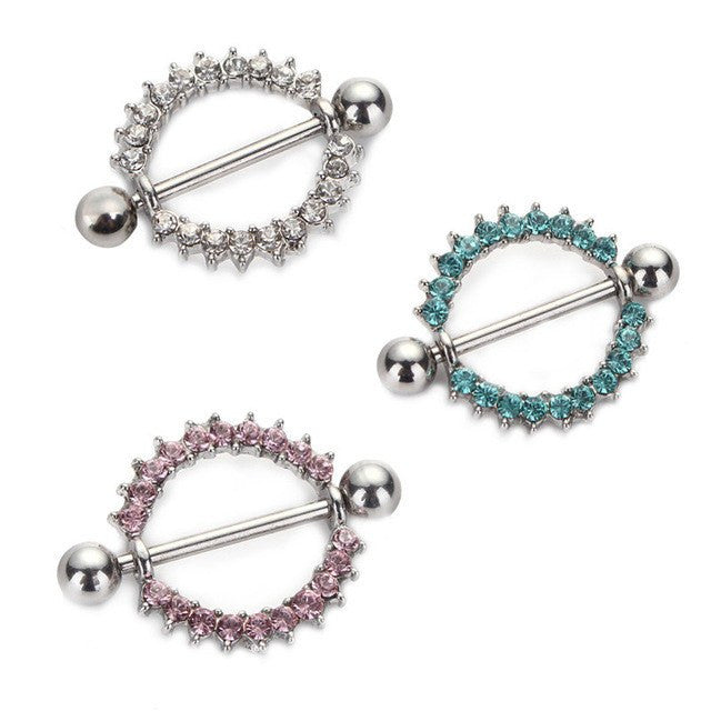Silver-plated/Green/Pink CZ Gem Paved Circle Nipple Shield Piercing Rings Body Piercing 14G 1Pair Nipple Piercing Body Jewelry, Nipple rings,  $20 piercing Washington DC Metro Pierce Me - PIERCE ME