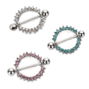 Silver-plated/Green/Pink CZ Gem Paved Circle Nipple Shield Piercing Rings Body Piercing 14G 1Pair Nipple Piercing Body Jewelry, Nipple rings, Pierce Me Body Piercing Shops