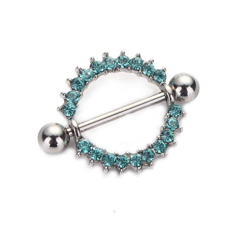 Silver-plated/Green/Pink CZ Gem Paved Circle Nipple Shield Piercing Rings Body Piercing 14G 1Pair Nipple Piercing Body Jewelry, Nipple rings, PIERCE ME  - PIERCE ME