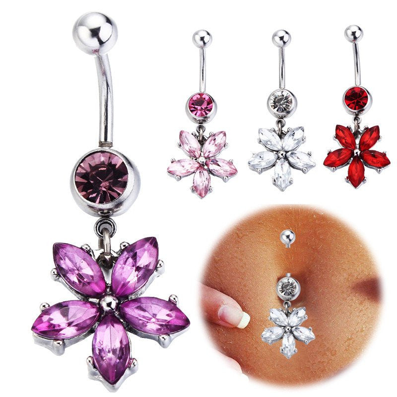 Belly Rings - Sexy Dangling Rose Flower Belly Button Rings Body Piercing 316L Surgical Steel Fashion Navel Rings Dangle For Women Belly Piercing