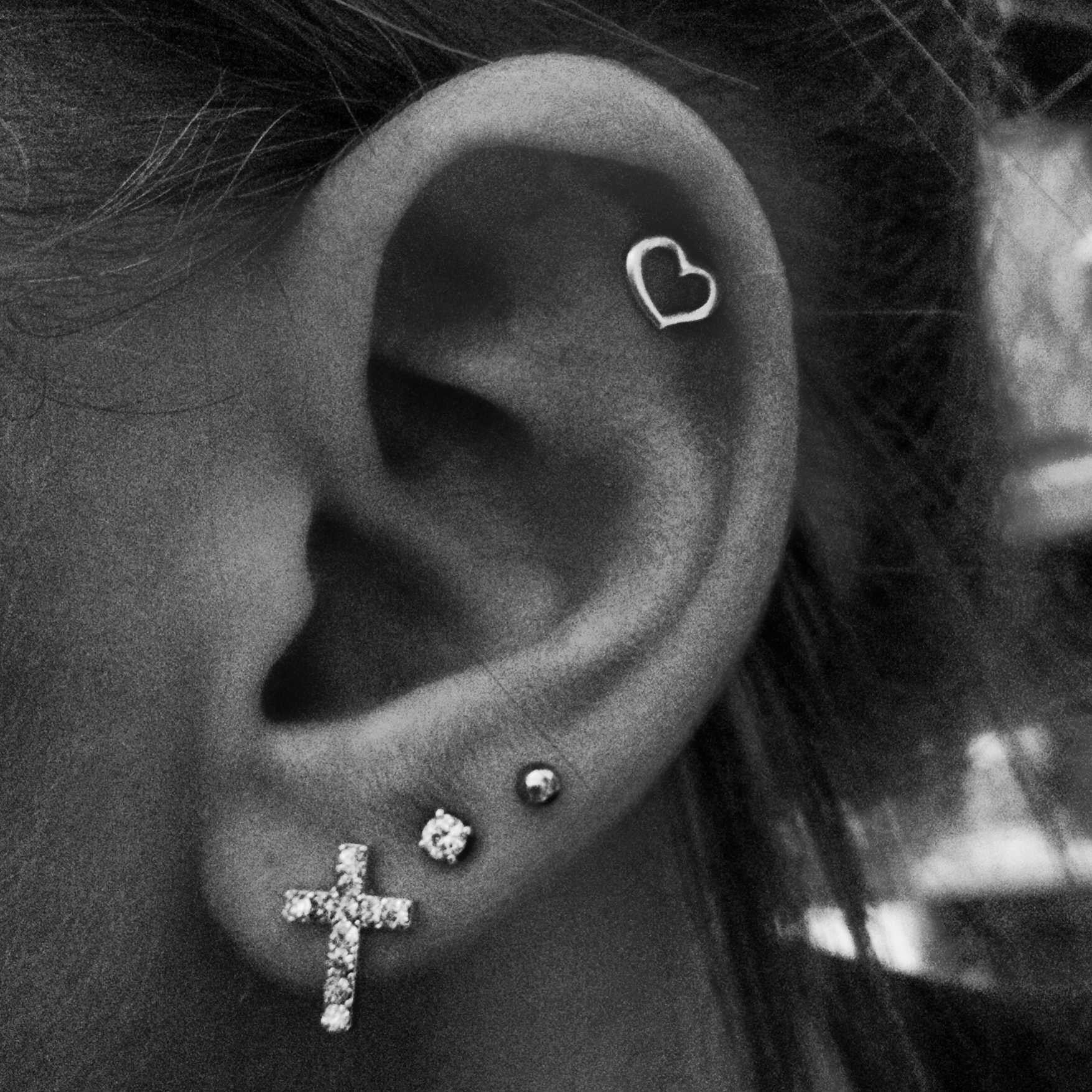 Body Piercing - Helix Or Ear Lobe Piercing LOVE PM Pink Valentines Sale