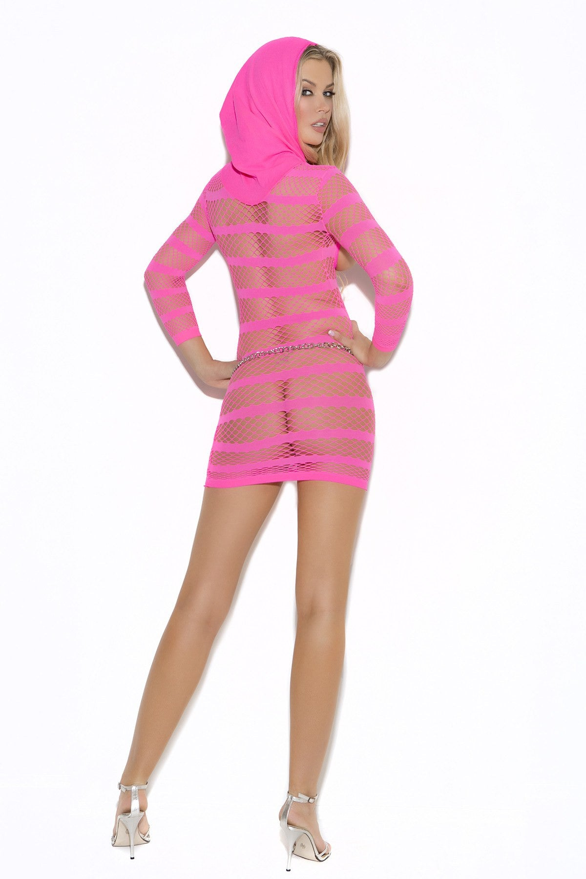 Sexy pink mesh hooded open bust mini dress., Body Stocking, Pierce Me Body Piercing Shops