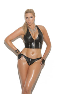 Sexy black leather zip front halter top with zipper detail and leather back. 3 Fabulous queen size, Leather/Vinyl, Pierce Me Body Piercing Shops