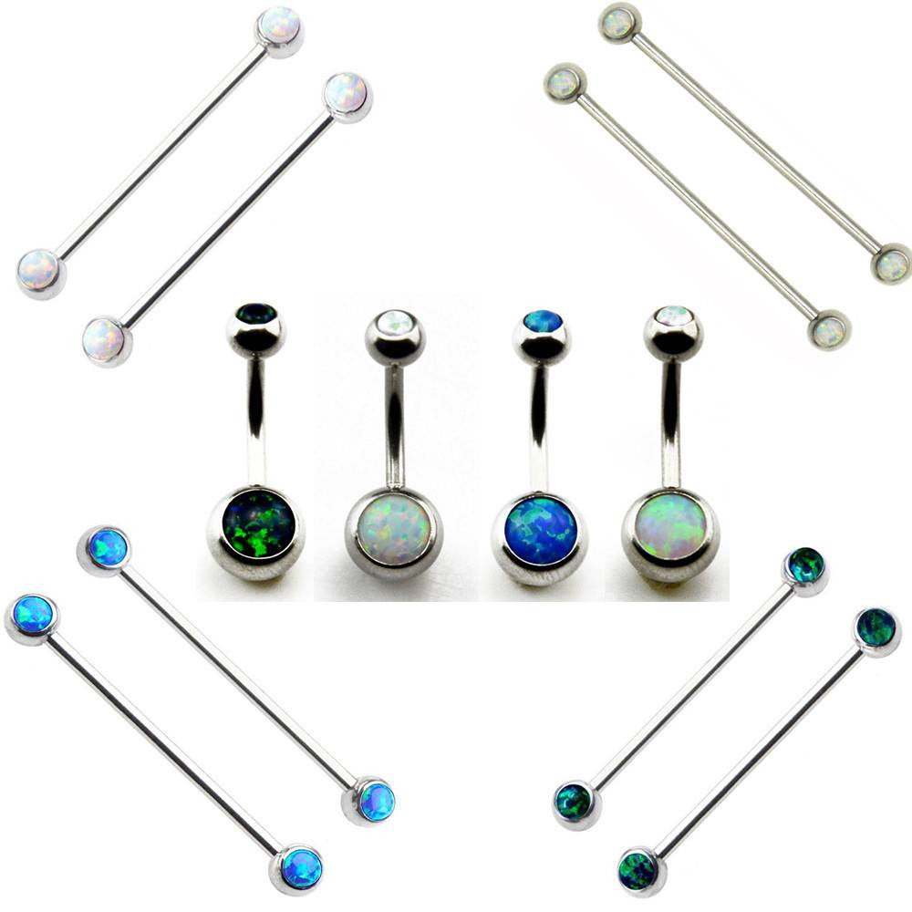 PM MIX n' MATCH Buy 2 get 1 FREE Gift.  Opal Crustal Navel Belly Button Ring / Ear Industrial Barbell Earrings