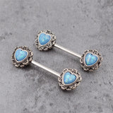 Luxury Heart Opal Stone Nipple Rings (1 Pair)