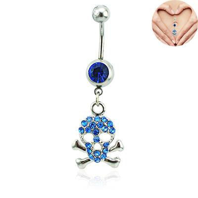 BUY 1 GET 1 FREE GIFT Sparkling Pink or Blue Surgical Steel Dangle Rhinestone Skull Navel Belly Rings Jewelry Body Piercing Fashion Accessories
