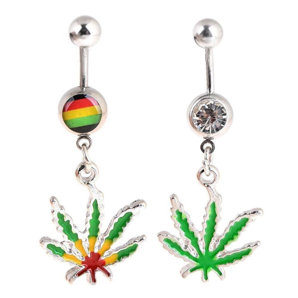 NEW!  BUY 1 GET 1 FREE Dangling Maple Leaf Weed Dangling Belly Ring Accessories Body Piercing Jewelry at Pierce Me, No.1 Body Piercing Shops