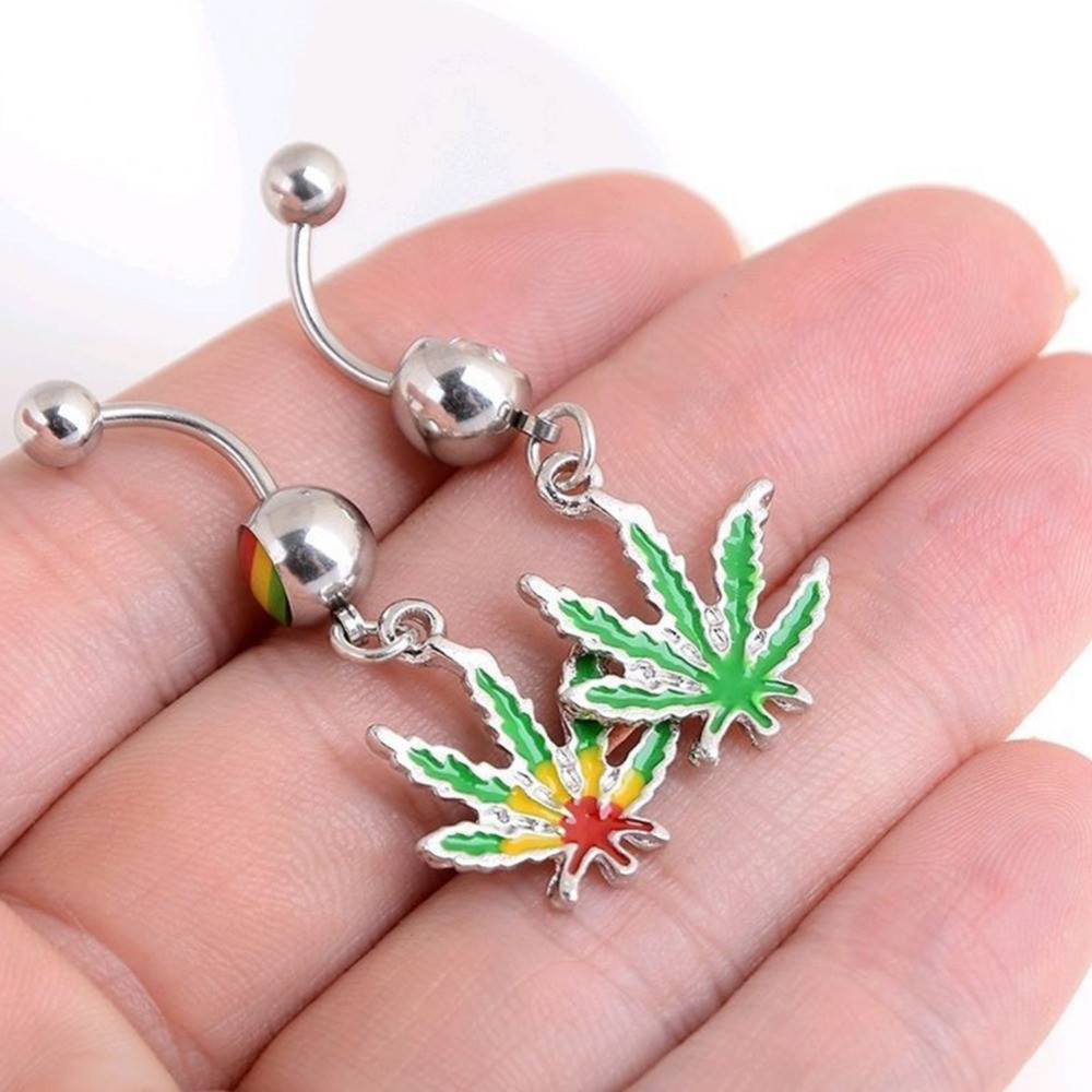 NEW!  BUY 1 GET 1 FREE Dangling Maple Leaf Weed Dangling Belly Ring Accessories Body Piercing Jewelry at Pierce Me Shops