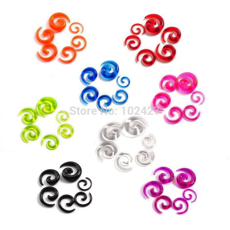 12Pcs/set Acrylic Spiral Ear Stretching Tapers Body Jewelry Mix Lots Acrylic Ear Tapers Fake Ear Expander Plug Tunnel Kit, , Pierce Me Body Piercing Shops   - PIERCE ME