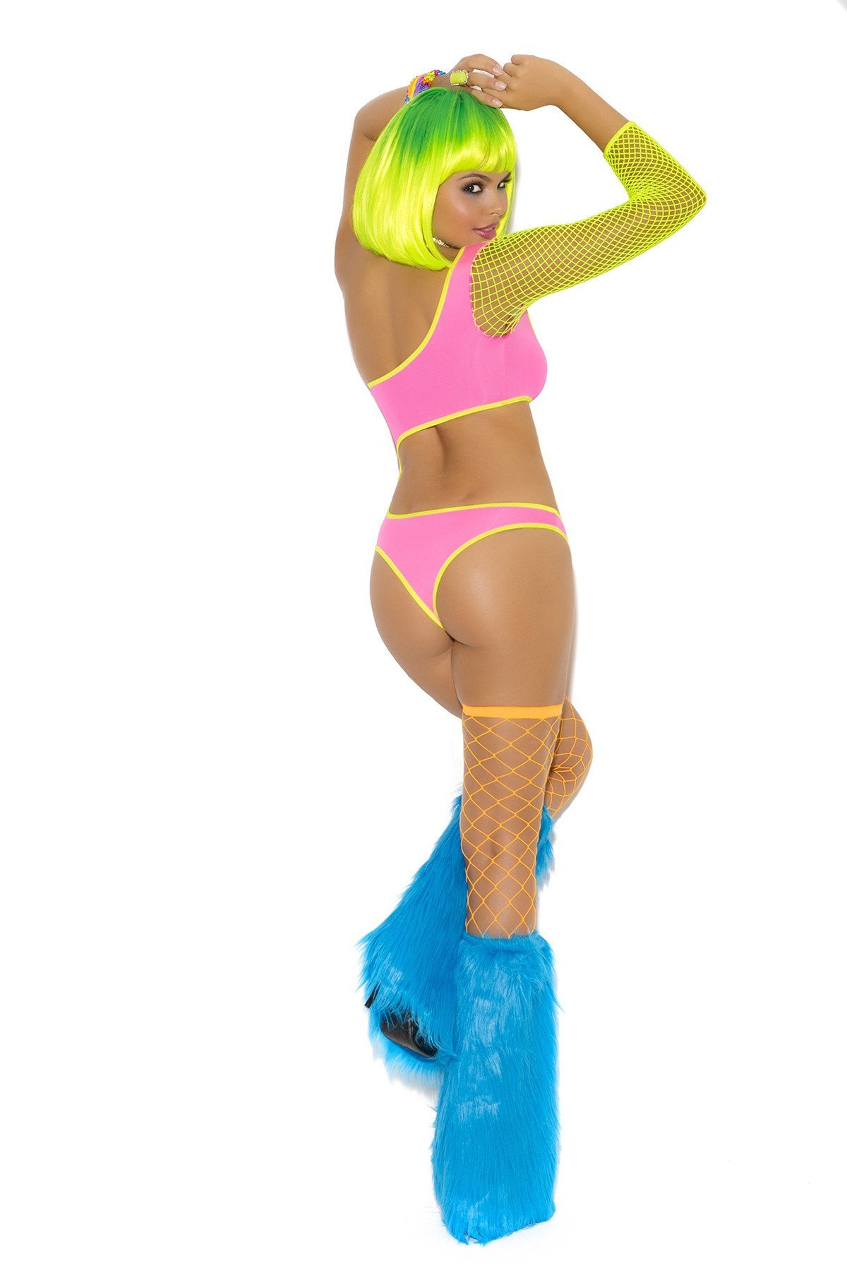 Rave - Sexy Neon Rave Girl One Shoulder 2 Tone Teddy