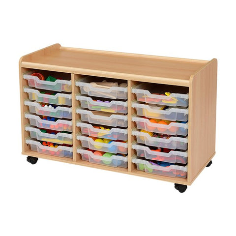 18 Clear Plastic Shallow Tray Storage Unit