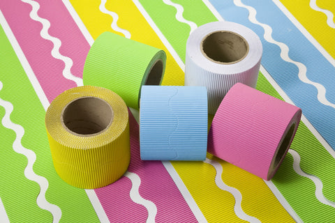 Corrugated Scalloped Cool Colour Border Rolls, Card, Display board