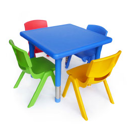 Square Plastic Table and Chairs Set
