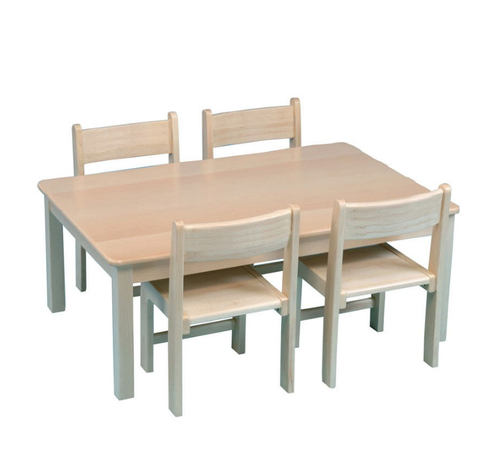 Rectangular beech table and chairs