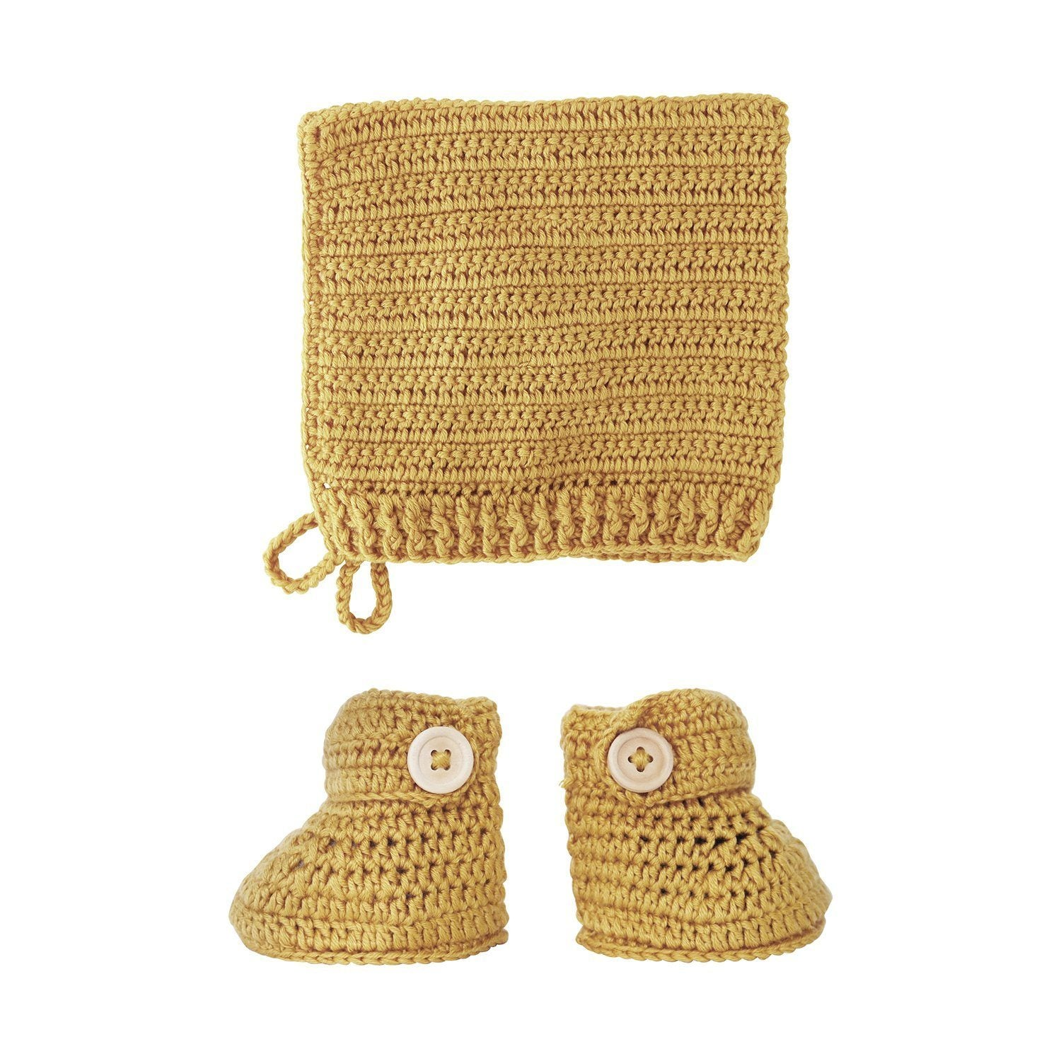 Tumeric Crochet Bonnet and Bootie Set
