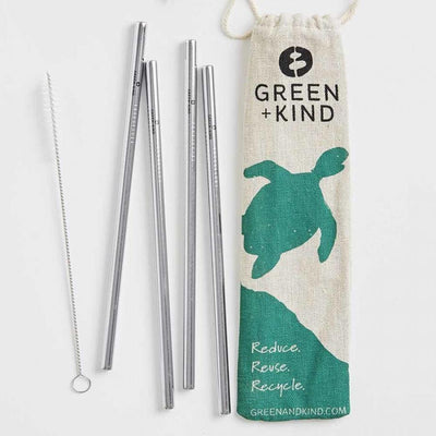 Green and Kind To Eat S/S Straight Straw 4pk kids-children-mums-parenting-toyshop-fun kids-children-mums-parenting-toyshop-fun
