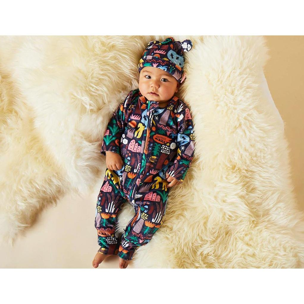 Kakadu Velour Long Sleeve Zip Suit - Halcyon Nights - Hugs For Kids