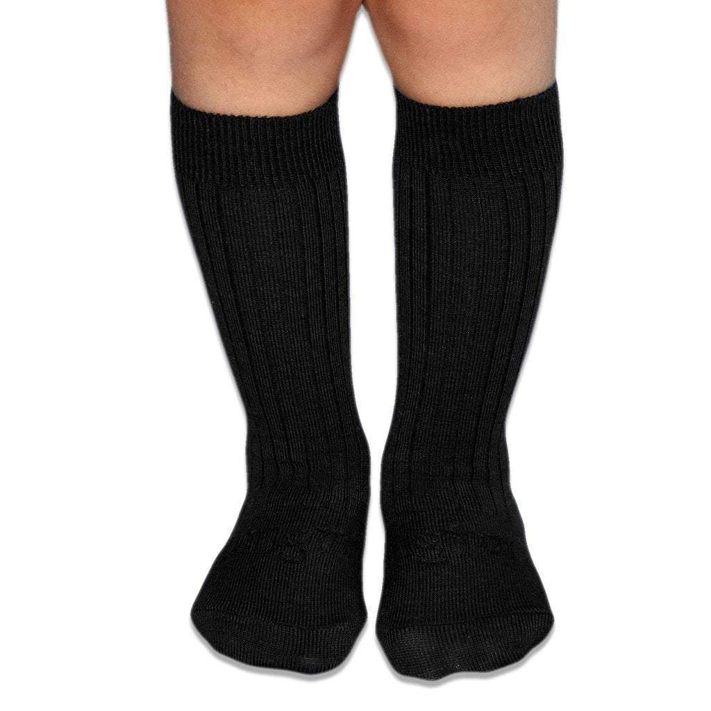 Merino Socks - Black Rib - Lamington - Hugs For Kids