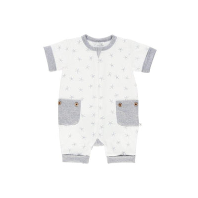 Grey Star Short Romper - Lil Zippers - Hugs For Kids