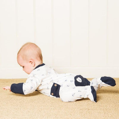 Navy Anchor Long Romper - Lil Zippers - Hugs For Kids