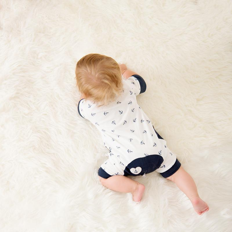 Navy Anchor Short Romper - Lil Zippers - Hugs For Kids