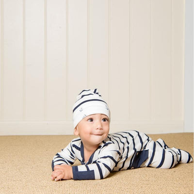 Navy Reversible Beanie - Stripe/Anchor - Lil Zippers - Hugs For Kids
