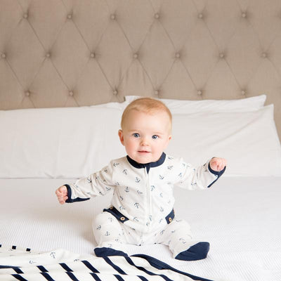 Navy Reversible Blanket - Stripe/Anchor - Lil Zippers - Hugs For Kids