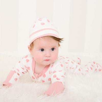 Pink Reversible Beanie - Stripe/Shell - Lil Zippers - Hugs For Kids