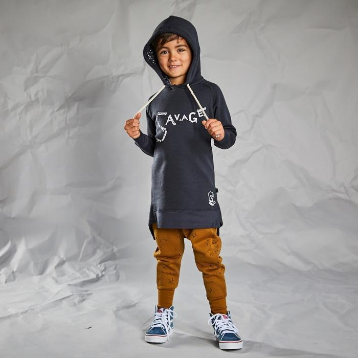 Savage Merino Longline Hoodie - Little Flock of Horrors - Hugs For Kids