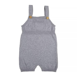 Miann and Co. Baby Clothes 0-3M Grey Short Knit Overalls kids-children-mums-parenting-toyshop-fun kids-children-mums-parenting-toyshop-fun