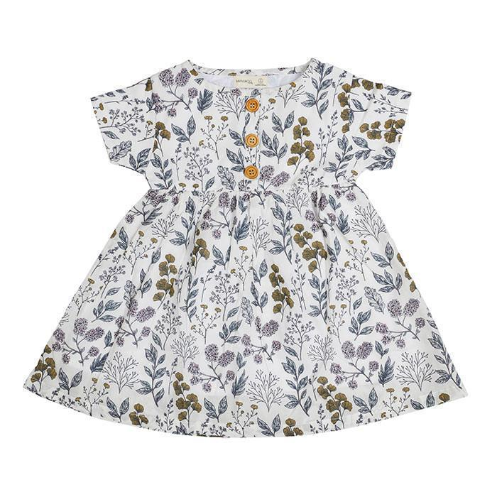 Leaf Print S/S Dress - Miann and Co. - Hugs For Kids